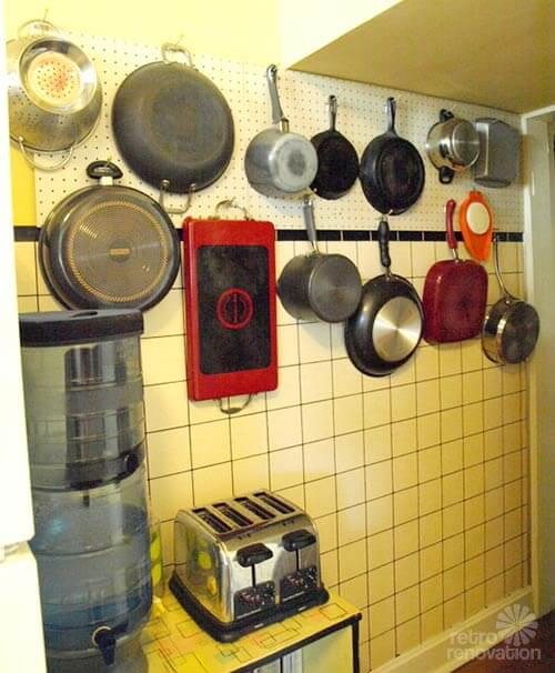 Pegboard as pot rack in vintage kitchens - Retro Renovation