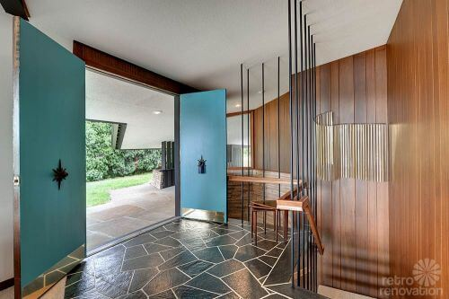 mid century modern entry way