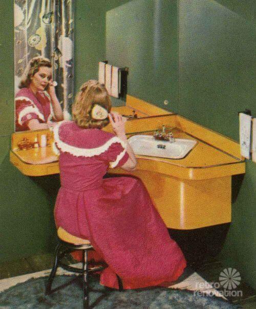 retro bathroom vanity formica