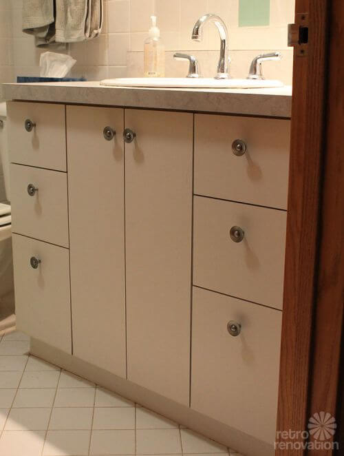 Kate Builds A Midcentury Modern Bathroom Vanity Total Cost - Painting bathroom vanity laminate