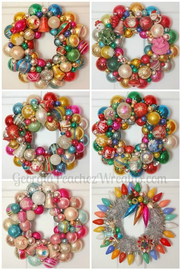 How to make a christmas wreath out of vintage ornaments for How to make christmas decorations