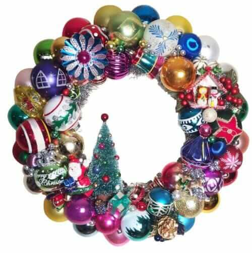 wreath made from vintage christmas ornaments lots of colors
