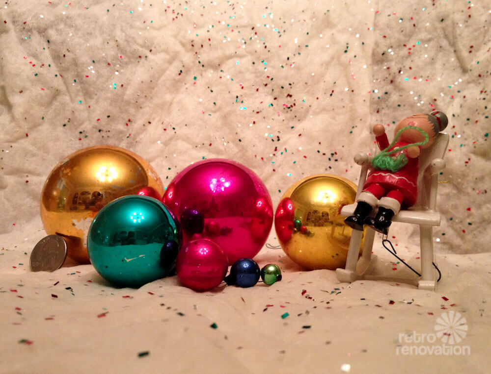 shiny brite ornaments in different sizes