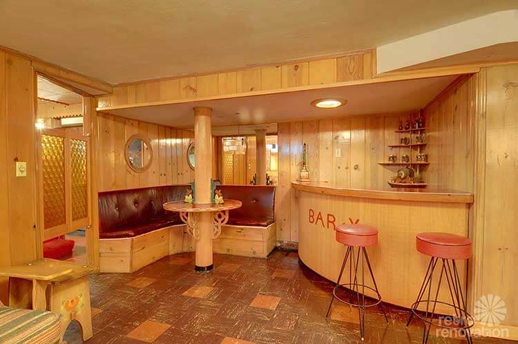 Vintage Knotty Pine Bar Basement
