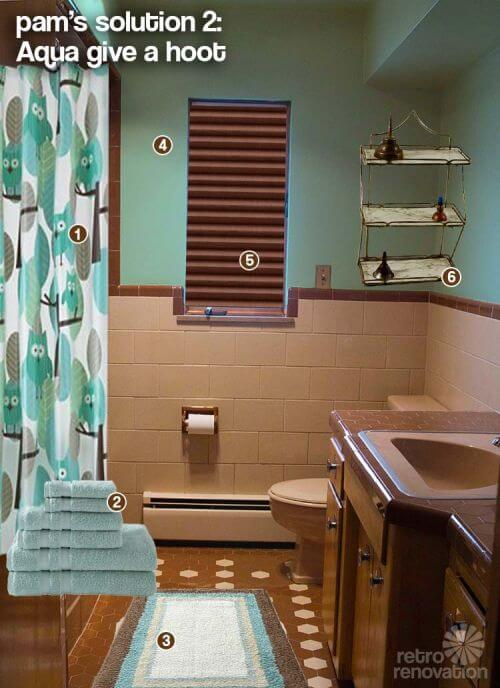 retro tiled bathroom aqua and brown
