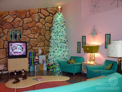 aqua retro christmas tree - Vintage Christmas Decorations