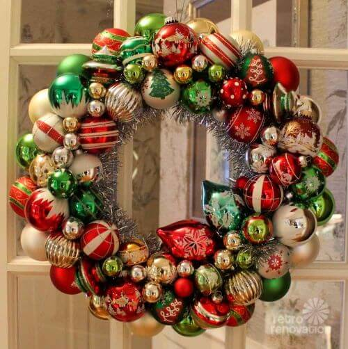Ornament wreaths made from new christmas ornaments i for Michaels crafts christmas ornaments