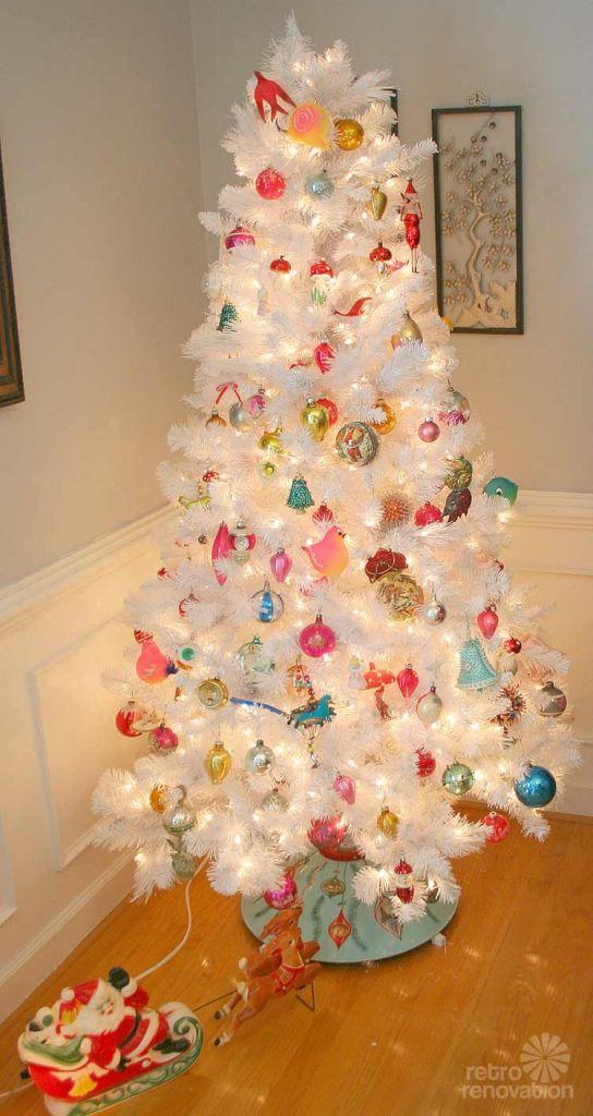 white retro christmas tree