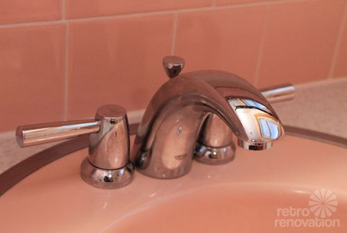 New vintage pink sink retro style faucet