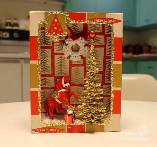 Christmas Craft Make Shadow Box Dioramas Using Vintage