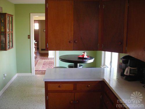 mid-century-wood-kitchen-cabinets
