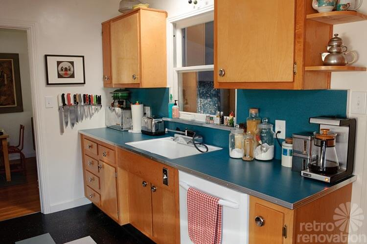 Sarah S Super Economical Retro Kitchen Remodel Featuring Salvaged Vintage Wood Cabinets