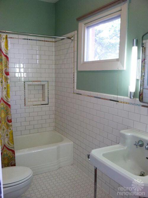 Lovely building shower niche vintage white bathroom