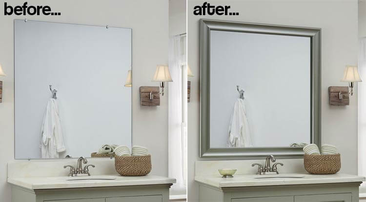 Bathroom mirror frames 2 easy to install sources a diy tutorial retro renovation for How to frame mirror in bathroom