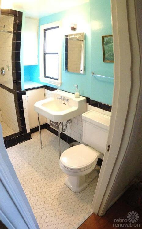 Cute retro vintage bathroom remodel
