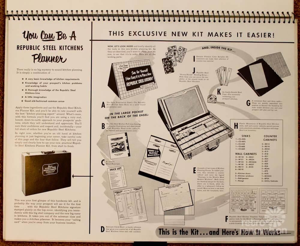 vintage salesman sample kitchen planner