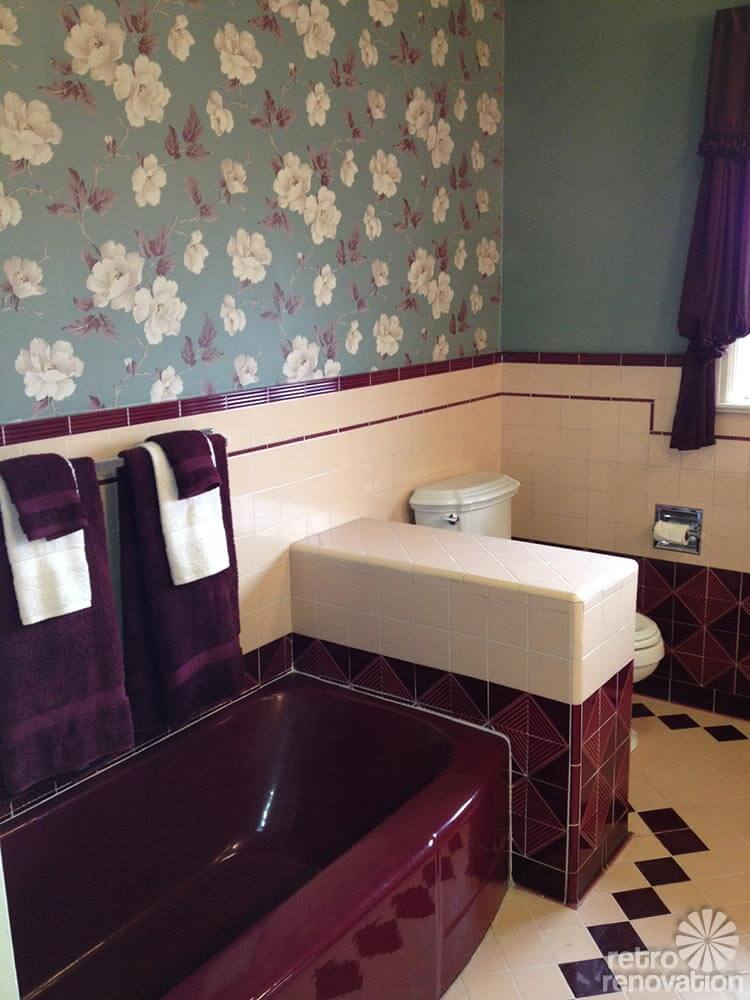 Vintage Wallpapered Bathroom Maroon