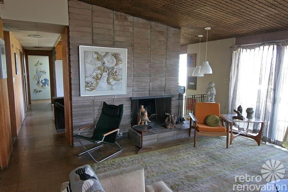 beautiful mid century brick fireplace