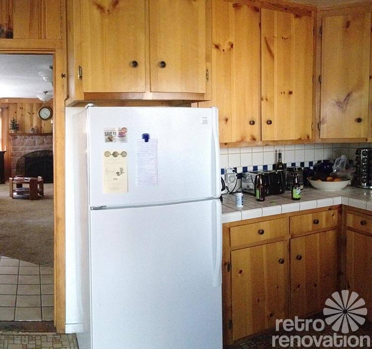 Knotty Pine Cabinets Makeover: Retro Design Dilemma: Choosing Colors For Michaela's