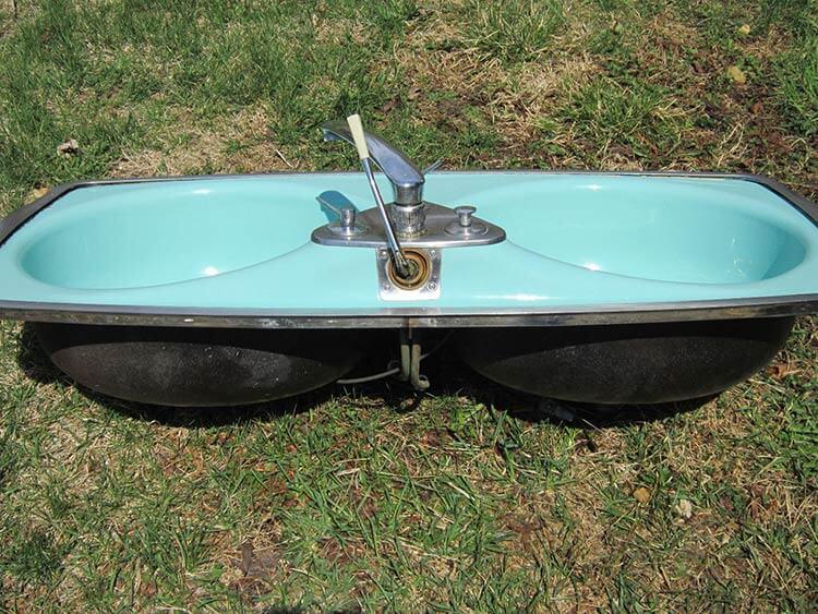 vintage Fiesta kitchen sink with round bowls