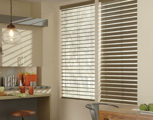 window blinds turned up and down in a kitchen
