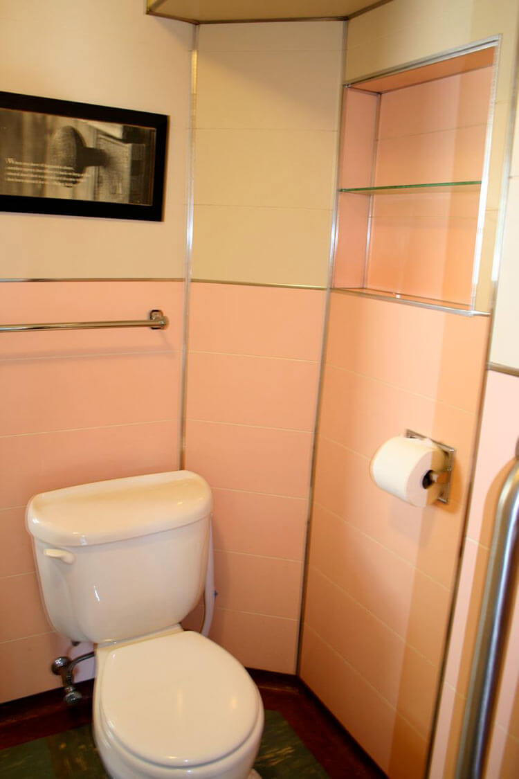 Plastic sheets for bathroom walls - Midcentury Pink Bathroom