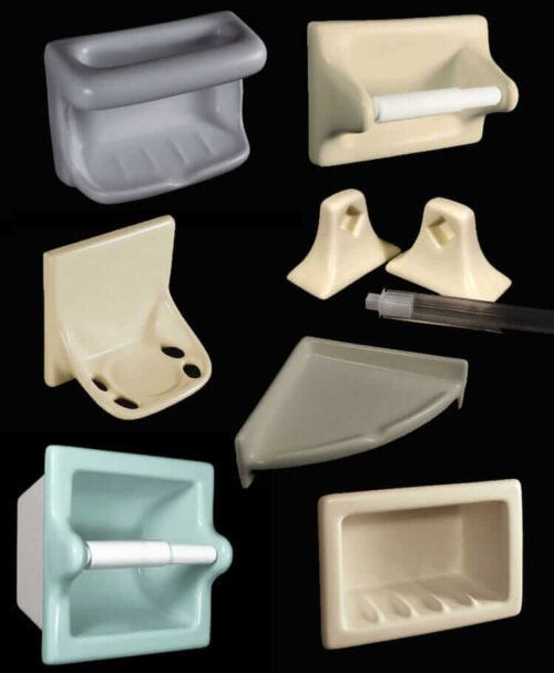 33 colors of recessed ceramic soap dishes shampoo cubbies for Ceramic bathroom accessories