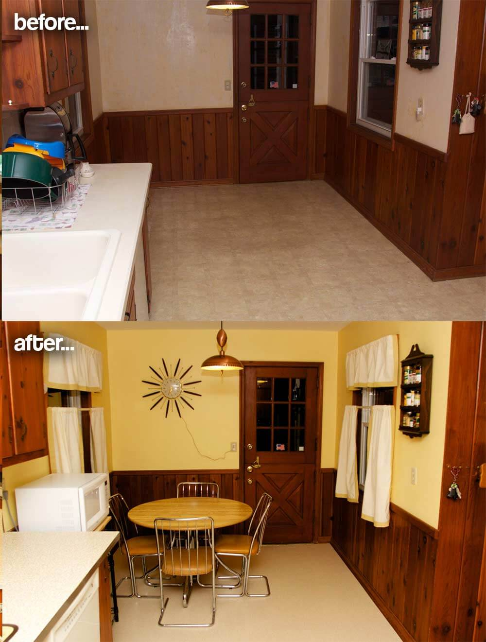 Amber 39 s 1961 knotty pine kitchen before and after retro for Kitchen 06 battaramulla