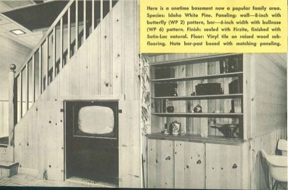 knotty pine basement  sc 1 st  Retro Renovation & Pickwick pine paneling - the most popular knotty pine pattern in ...