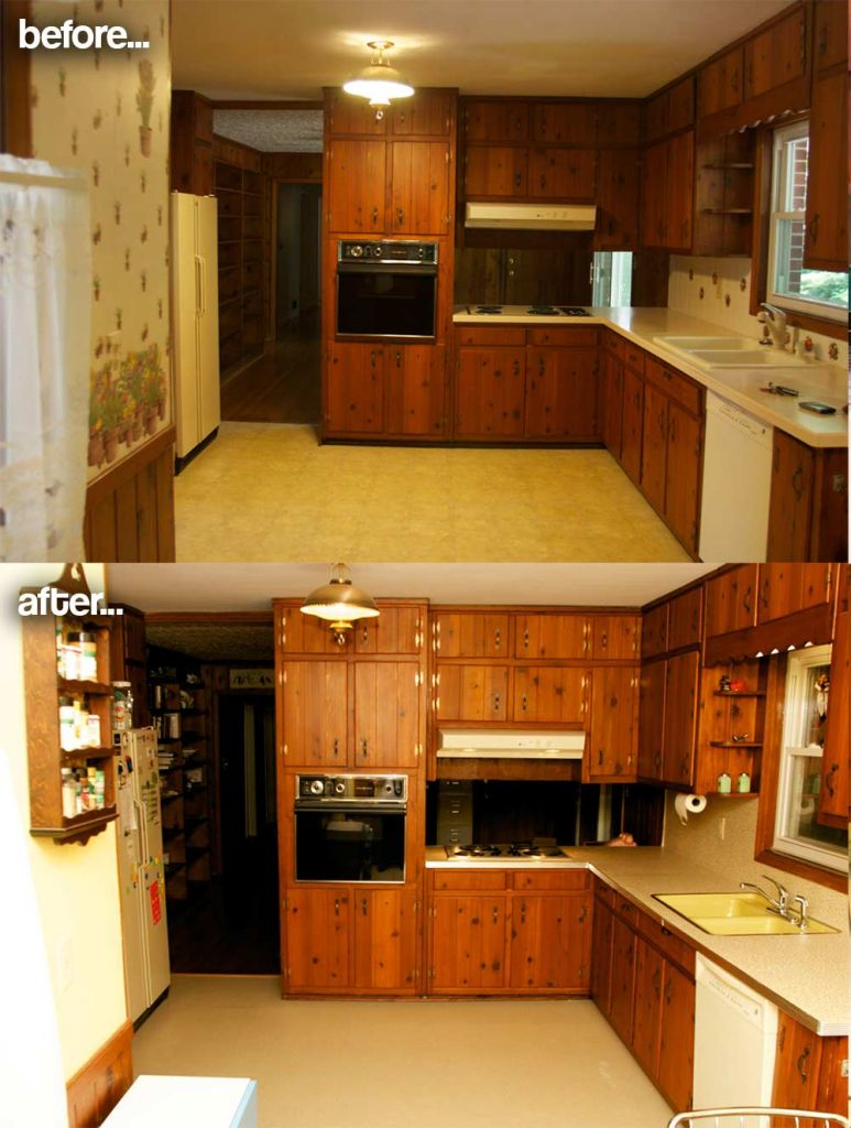paint and countertops for a knotty pine kitchen