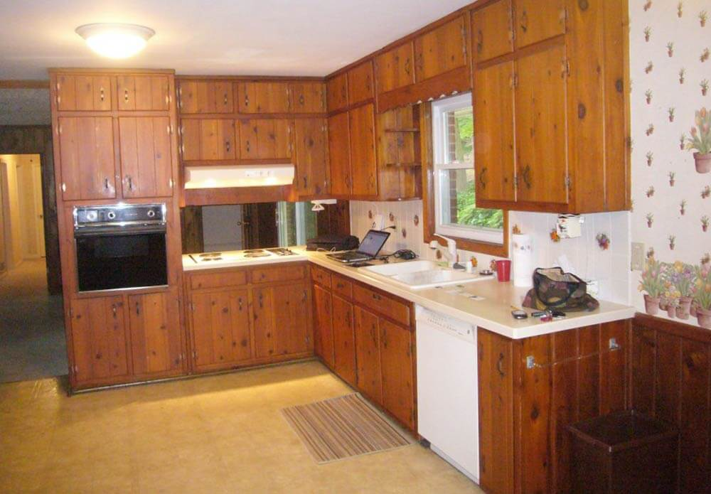 Knotty Pine Kitchen Before