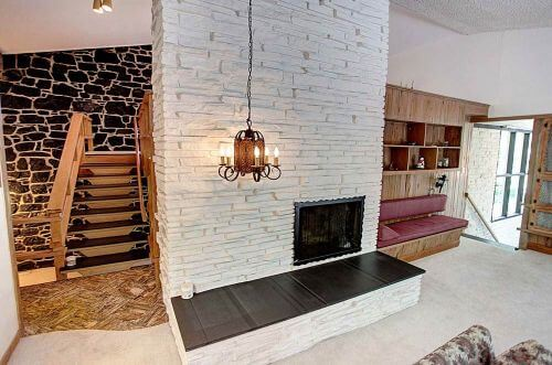mid century fireplace