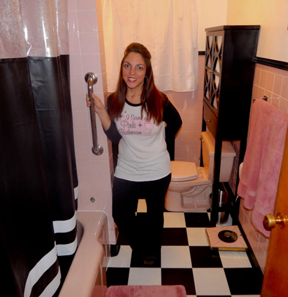 Pink Black Bathroom