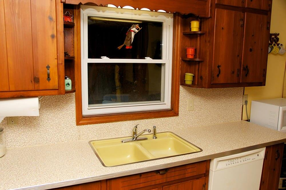 good countertop for a knotty pine kitchen
