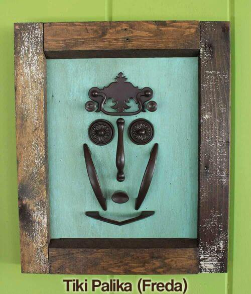 Make a tiki mask set with vintage kitchen cabinet knobs