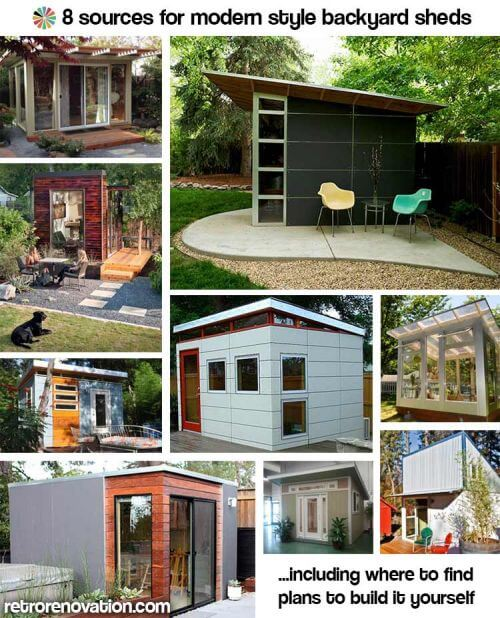 9 sources for midcentury modern sheds prefab diy kits for Building a home office in backyard