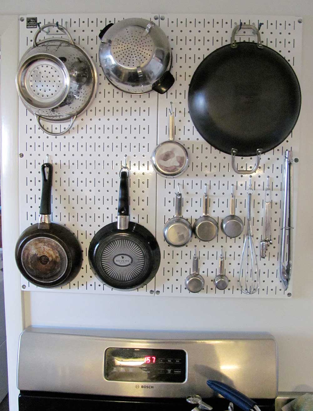 amazing Using Pegboard In Kitchen Part - 12: Steel-pegboard-in-kitchen