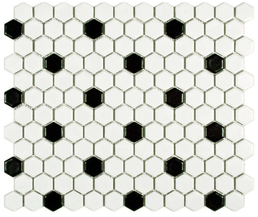 2 new porcelain hex tile floor options for your vintage pastel black and white hex tile dailygadgetfo Image collections