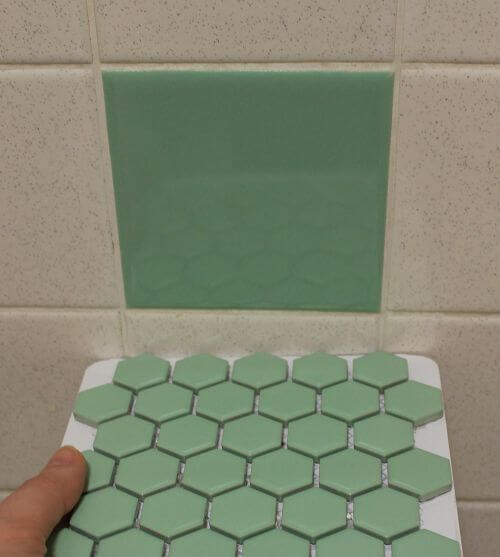 small green hex floor tile in green by merola