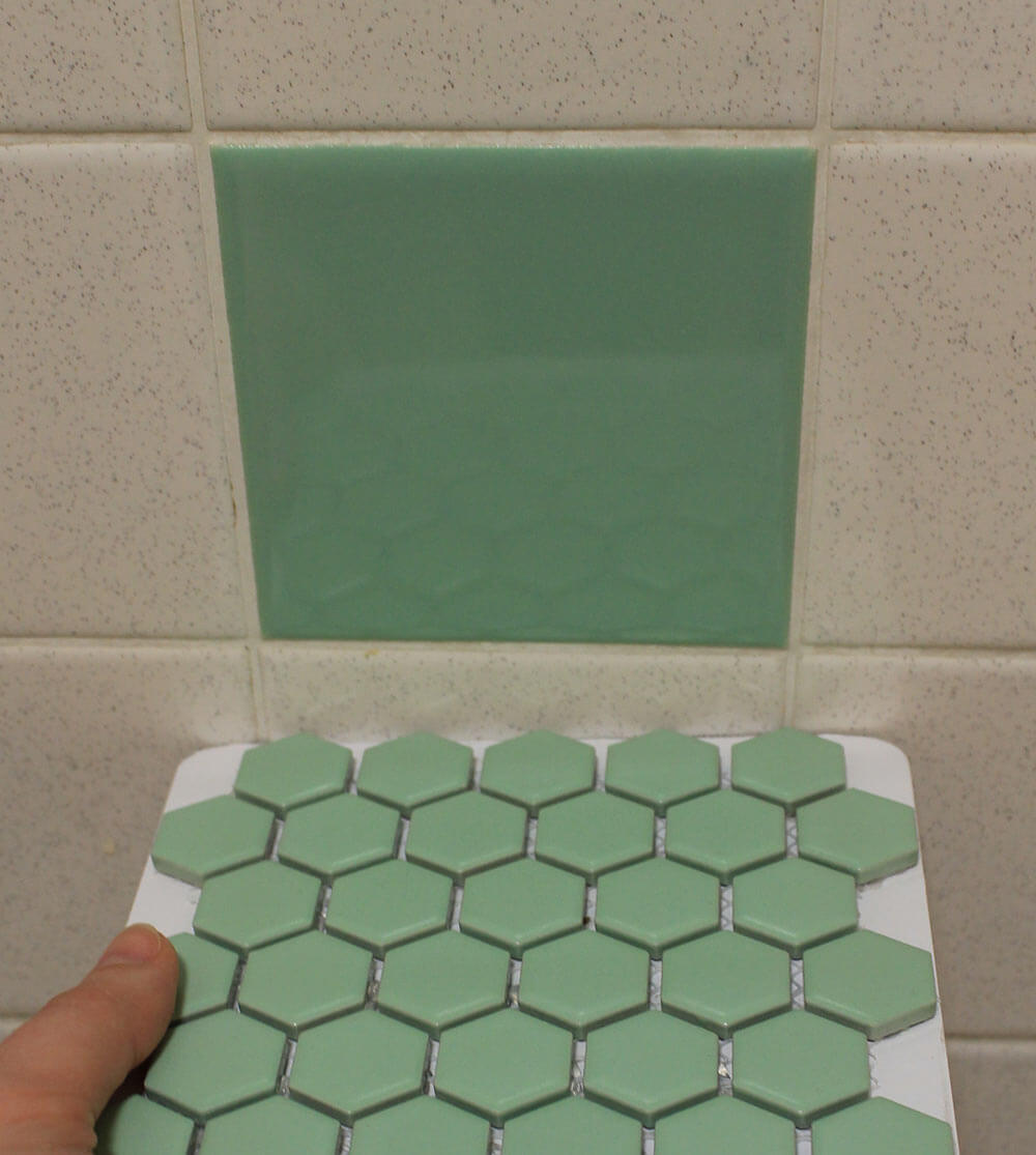 Tile samples for bathroom - Hex Mosiac Vintage Green Bathroom