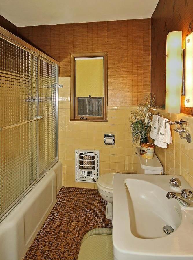 Unique midcentury tile bathroom