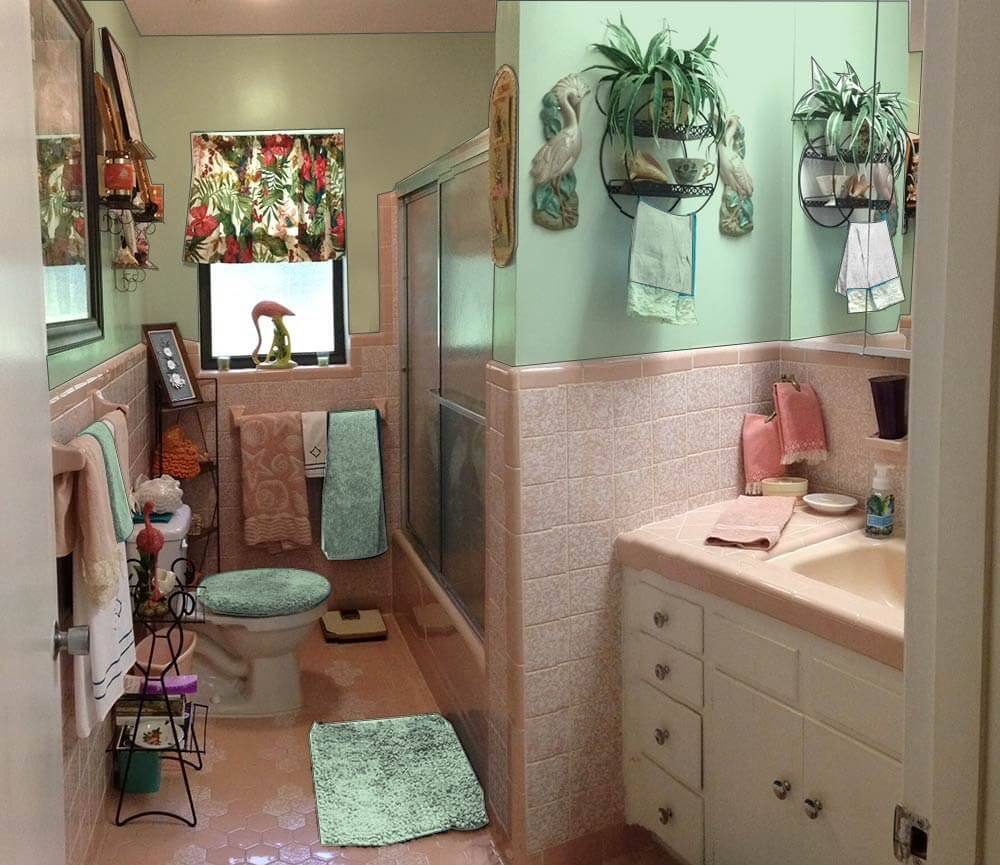 Retro design dilemma paint colors or wallpaper for diane for Pink grey bathroom accessories