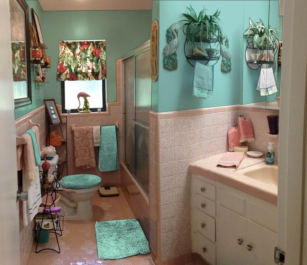 Retro design dilemma paint colors or wallpaper for diane for Teal and grey bathroom sets