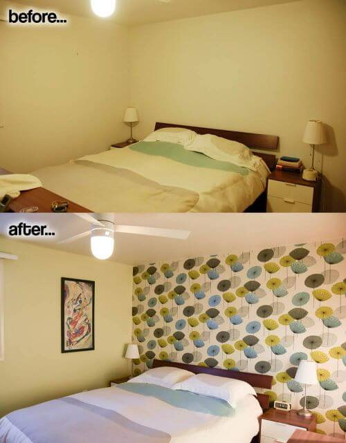 midcentury modern bedroom before after
