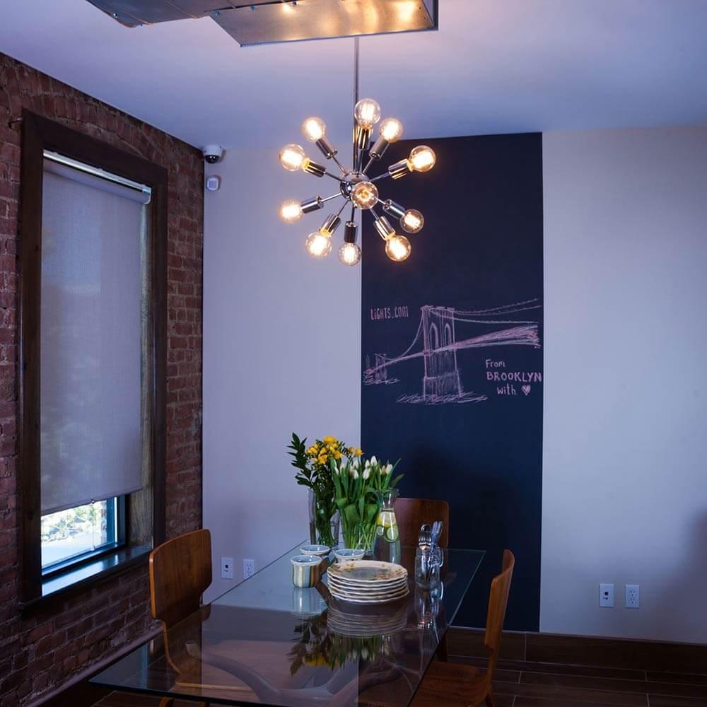 Superb midcentury sputnik chandelier