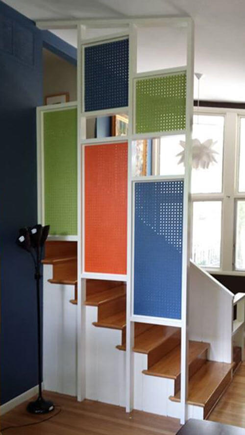 Dennis Colorful Affordable Pegboard Room Divider Retro