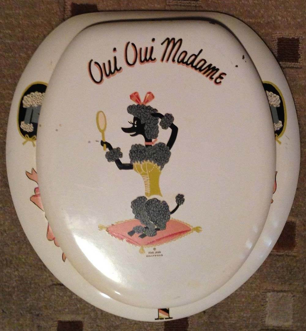 vintage poodle toilet seat