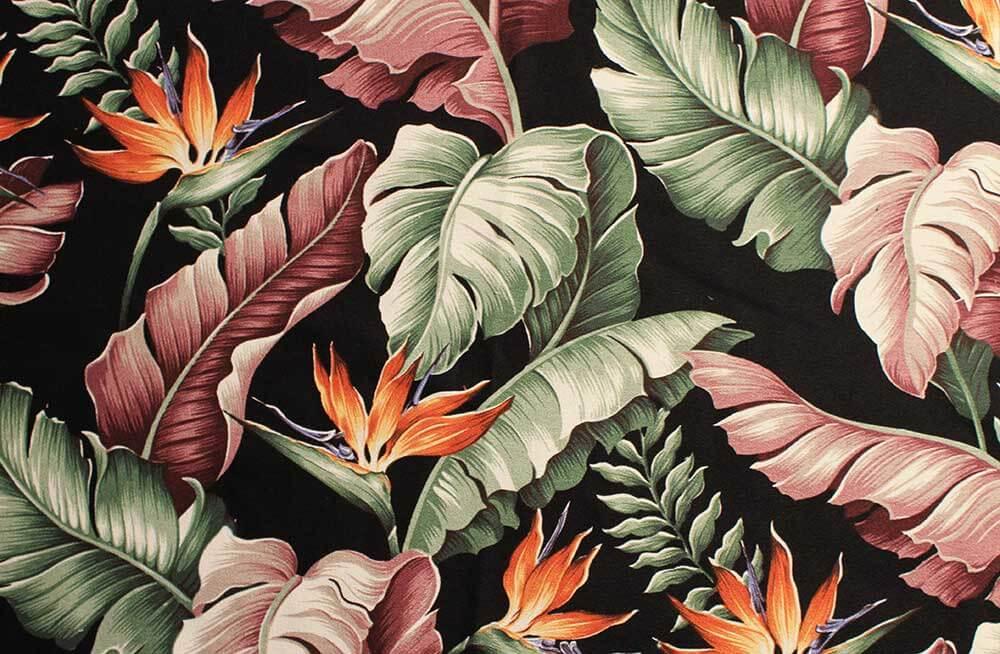 11 Tropical Leaf Print Barkcloth Fabrics In 31 Colorways Retro