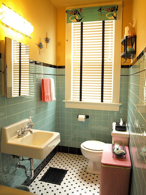 Kristen and paul 39 s 1940s style aqua and black tile for 60 s bathroom ideas