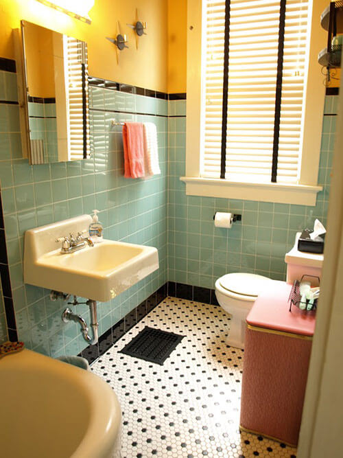 Kristen and paul 39 s 1940s style aqua and black tile for Bathroom ideas yellow tile